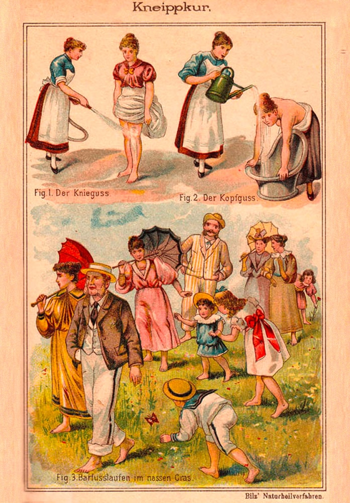 illustration of people doing a kneipp therapy