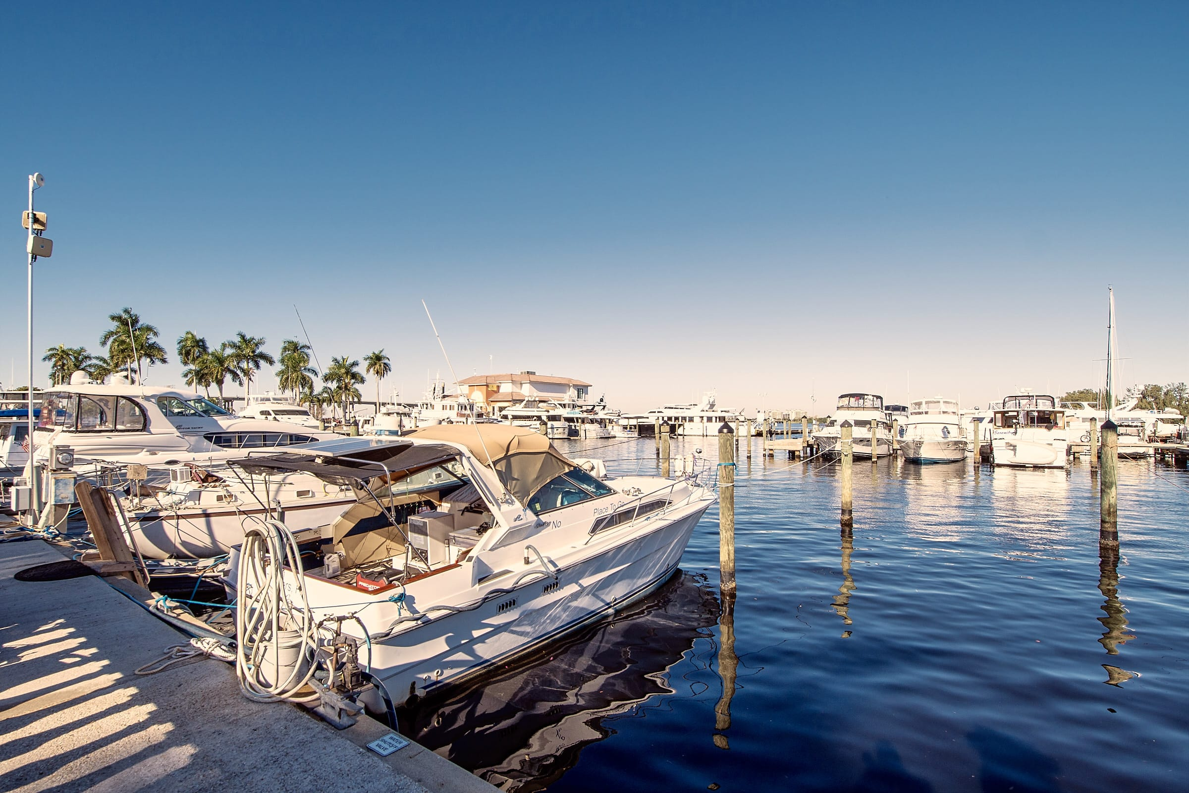 Motorboats and yachts in Ft Myers Yacht basin